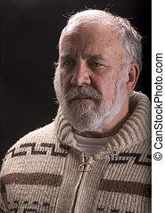 öreg, szeret, hemingway, ernest, szakáll, szvetter, ember