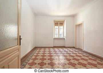 öreg, szoba, emelet, nagy, cserép, belső, geometriai, üres