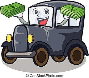 öreg, táska, autó, karikatúra, garázs, pénz, lejtő