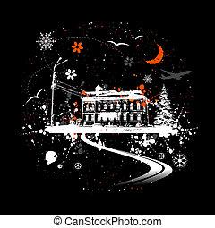 öreg, tél, épület, éjszaka