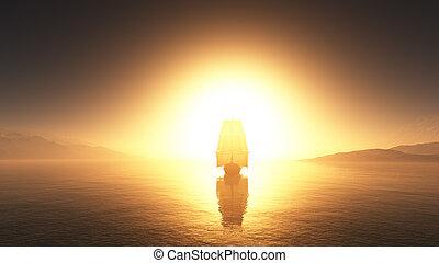 öreg, tenger, ábra, hajó, napnyugta
