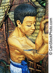 öreg, thailand., szobor