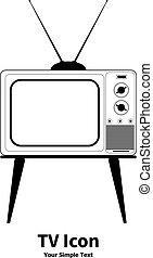 öreg, tv, ábra, vektor, retro, ikon