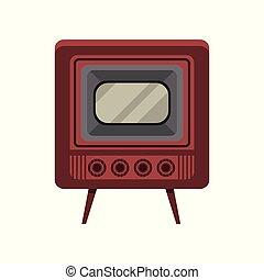 öreg, tv, szüret, ábra, vektor, háttér, fehér