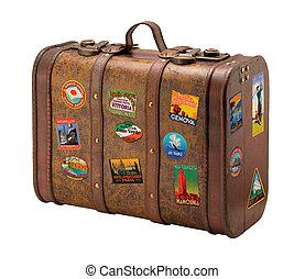 öreg, utazás, szabad, bőrönd, royaly, böllér