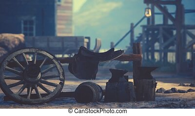 öreg, vad, város, mód, amerikai, western