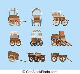 öreg, vektor, szállít, tehervagon, mozi, nagy, fából való, western, szüret, kocsi, wagon., vad, feltűnő, ősi, ló, tol, nyugat