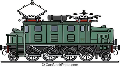 öreg, zöld, elektromos, lokomotív