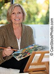öregasszony, festmény, 50, év