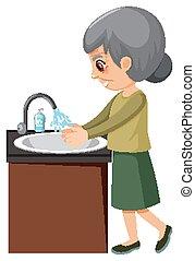 öregasszony, mosakszik kezezés