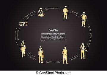 öregedő, különböző, öreg, vektor, -, fogalom, ember, fiú, állhatatos, gyermekkor, előad, életkor, infance, felnőtt