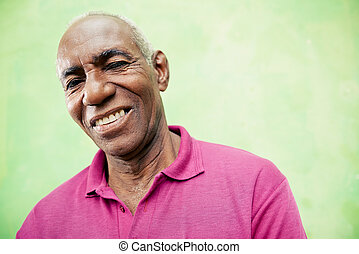 öregedő, látszó, fényképezőgép, fekete, portré, mosolyog bábu