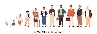 öregedő, személy, kevés, hím, csecsemőkor, vektor, senility., ember, aggastyán, gyermek, pasas, felnövés, fiú, karikatúra, gyermekkor, set., előad, illustration., character., feláll, élet, növekedés, lakás, mozzanat, felnőttkor, biciklizik