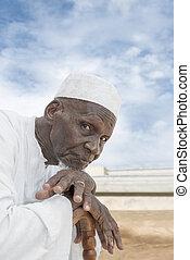öregember, nyolcvan, afrikai, év