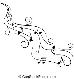 örvény, bever, hangjegy, zene