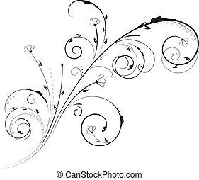 örvény, díszítés, virágos