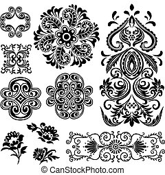 örvény, floral tervezés, elképzel, motívum