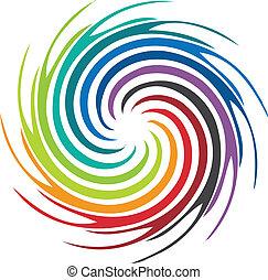 örvény, jel, elvont, kép, színes