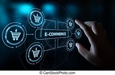 összead, ügy, e-commerce, bevásárlás, internet, kordé, technológia, online, fogalom