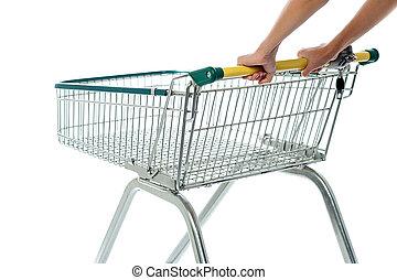 összead, bevásárlás, üres, kordé, kordé