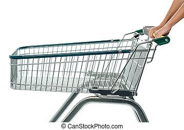 összead, bevásárlás, cart., üres, kordé