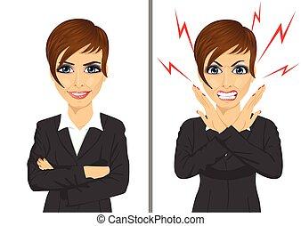 összehasonlítás, üzletasszony, mérges, ugyanaz, között, kifejezések, boldog