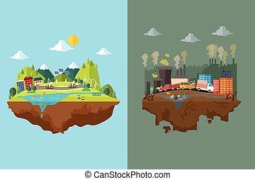 összehasonlítás, szennyezett, kitakarít, város