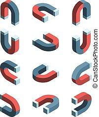 összeköttetés, mágnesesség, részlet, vektor, mágnes, állhatatos, vas, gyűjtés, jelkép, isometric.