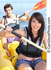 összekapcsol kayaking, summer's, élénk nap