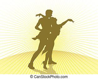 összekapcsol táncol, árnykép
