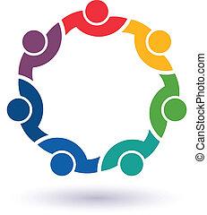 összekapcsolt, 7 emberek, más., boldog, ételadag, ikon, befog, congress., vektor, csoport, barátok, fogalom, mindegyik