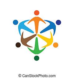 összekapcsolt, színes, fogalom, közösség, játék, barátság, munkavállaló, emberek, socially, vektor, gyerekek, &, kapcsolódások, változatosság, őt előad, osztozás, icons(signs)., munkás, ábra, graphic-, szeret, fogalom, s a többi