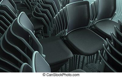 összetett, chairs., kazalba rakott