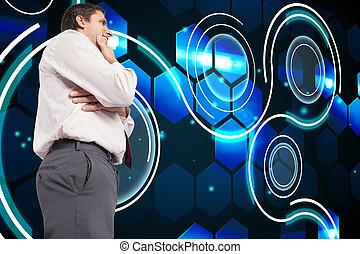összetett, kéz, üzletember, áll, kép, figyelmes