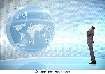 összetett, kéz, gondolkodó, üzletember, áll, kép