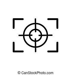 összpontosít, vektor, black háttér, fehér, ikon