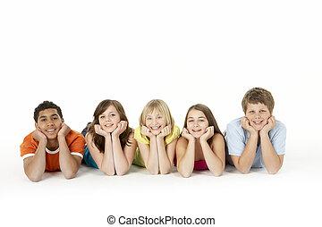 öt, gyerekek, csoport, fiatal, műterem
