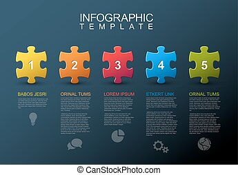 öt, rejtvény, infographic, lépések, darabok