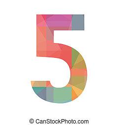 öt, szám, színes