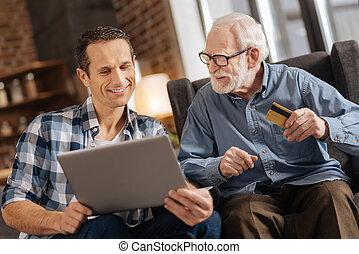 övé, bevásárlás, atya, fiatal, öregedő, együtt, online, ember