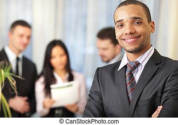 övé, dolgozó, african-american, mögött, befog, üzletember, boldog