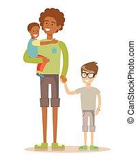 övé, family., atya, két, birtoklás, time., faj, kevert, gyerekek, kedves