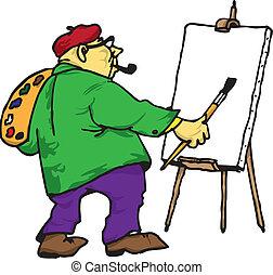 övé, festőállvány, művész