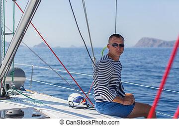 övé, figyelmetlen ember, boat., vitorlázás, fiatal