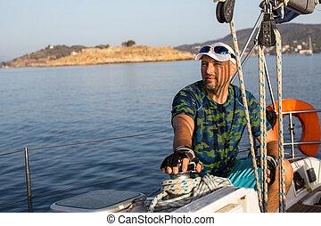 övé, figyelmetlen ember, yacht., vitorlázik