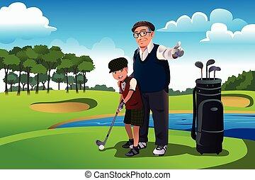 övé, golf, fiúunoka, nagyapa, tanítás, játék