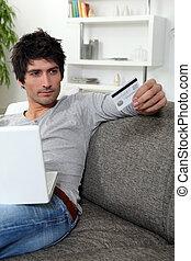 övé, hitel, online, használ, kártya, ember