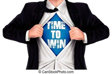 övé, ing, győz, kiállítás, alul, szavak, idő, üzletember