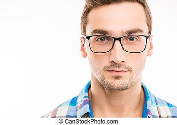 övé, jelentékeny, szemüveg, ember, súlyos