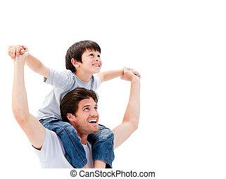 övé, lovagol, vidám, atya, odaad, fiú, háton